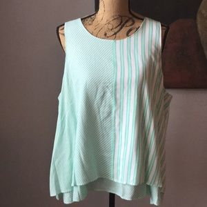 Mint and white layered tank